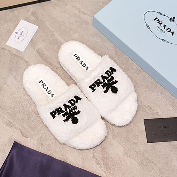 PRADA Fashion New Home Flat-bottomed Warm Cotton And Wool Slippers Shoes