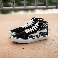 Vans X BAPE IDX NEW DT SK8-Hi Red High Top Men Flats Shoes Canvas Sneakers Women Sport Shoes