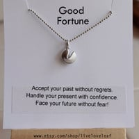Christmas gift ideas - Matte Silver Fortune Cookie Pendant Necklace with a message Rhodium ball chain Lucky, good luck charm, jewelry gift