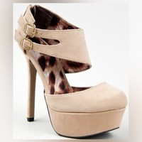 Qupid MIRIAM-13 Double Ankle Strap On High Heel Platform Round Toe Stiletto Pump