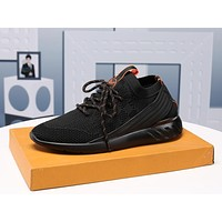 lv men fashion boots fashionable casual leather breathable sneakers running shoes 110