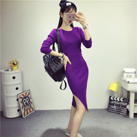 New autumn sexy jersey dress women with sidecut and long sleeves