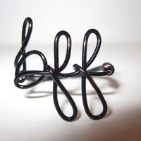 Black BFF Best Friends Forever Ring Wire Wrapped Unique Bridal Gifts
