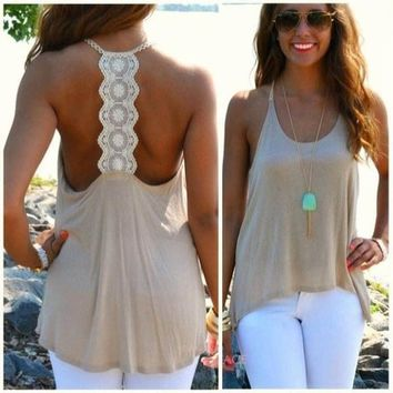 Women Summer Sexy Sleeveless Casual Loose Halter Tank Tops Vest Shirt Blouses = 5617195073