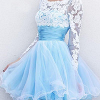 Sky Blue Long Sleeve Lace Embroidered Ruched Waist Backless Princess Mini Skater Dress