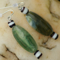 Vintage Green Stone Marble Earrings