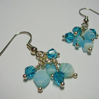 Teal Agate and Swarovski Crystal Earrings