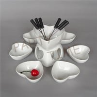 Ceramic chocolate fondue set heart shape cheese warmer fruit dish