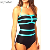 2017 new spell color sky blue stitching simple piece swim swimwear cover the belly was thin swimsuit Conservative Europe D036