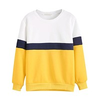 Contrast Striped Yellow Sweater
