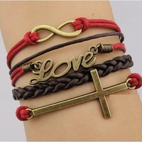 5 Piece Red and Brown Set