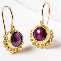 Ruby Gold Earrings, 22k Gold Earrings, Gift For Her, Ruby Earrings, Dangle Gold Earrings, Ruby Jewelry, Fine jewelry, Made to Order