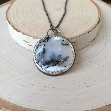 Stunning, Dendritic Agate Medallion Pendant in .925 Sterling Silver, Antiqued Patina, Scenery Agate Necklace, Oxidized Silver, Anniversary