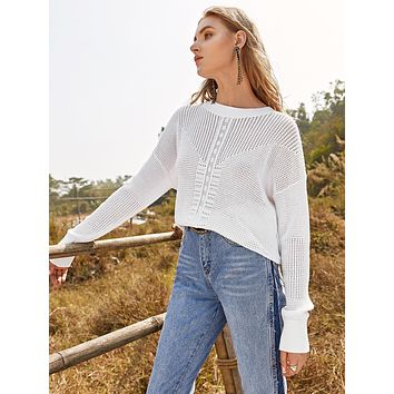 SHEINDrop Shoulder Pointelle Knit Solid Sweater