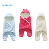 0-1 Year Old Baby Warm Sleeping Bag Flannel Newborn Blanket Swaddle Toddler Sleep Clothes Cute Soft 3d Design For Bed Stroller