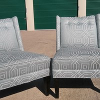#2497 - PAIR of Foxx Armless Accent Chairs by Century Furniture - Light Blue