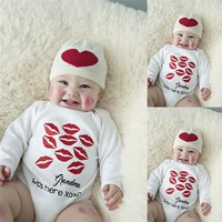 Cute Newborn Toddler Baby Boys Girls Cotton Long Sleeve Kiss Lipstick Printed Jumpsuit Bodysuit Clothes Outfit