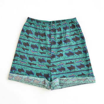 Vintage 90s High Waisted Surf Shorts Crazy Beach Tribal Print Teal Blue Elastic Waist Size Womens XSmall