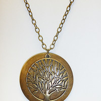 Antique Brass Tree of Life Necklace hippie handmade jewelry wicca boho