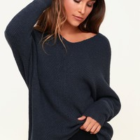 Emerson Dark Slate Blue Dolman Sleeve Sweater