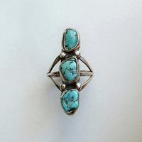 VINTAGE Native American Turquoise NAVAJO Ring STERLING Silver Natural Gemstones Size 5.25 c.1960s