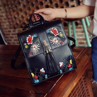 Girls bookbag Retro Floral Embroidery Small Leather Backpacks for Women Bookbag Girls Leisure Back Pack Female Shoulder Bag Mochilas Mujer New AT_52_3