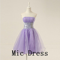 Best sale strapless sleevess knee-length organza corset pleated short sashes prom/Evening/Party/Homecoming/cocktail /Bridesmaid/Formal Dress