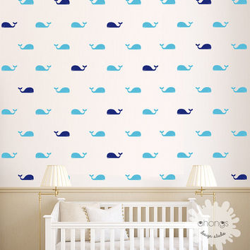 Whale Wall Decal / Fish Wall Decal / 60 Whales Sticker / Kids Room Wall Decal / Home Decor / Nursery Wall Decal / gift