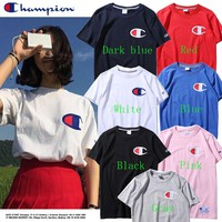 Champion Fashion Embroidery Round Neck Tops T-Shirt