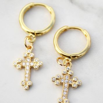 For the Sinners Cross Mini Hoop Drop Earrings-18K Gold Plated