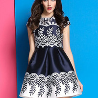 Navy Blue Cap Sleeve Floral Flare Dress with Color White Details