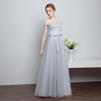 Real Photo 2 Color Prom Dresses 2017 New Arrival Ever Pretty Special Occasion Dresses Boat Neck Elegant Long Prom Dresses