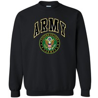 "Zexpa Apparelâ""¢ US Army Licensed Eagle Unisex Crewneck US Army Veteran USA flag Sweatshirt"