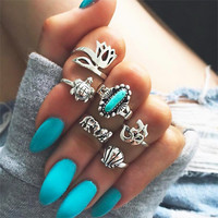 Gift Jewelry Stylish Shiny New Arrival Hot Sale Turquoise 3D Geometric Ring [11343019343]