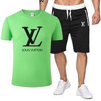 Louis Vuitton LV Classic hot sale printed letter logo hooded T-shirt Shorts two-piece suit Bag Shoes Green