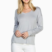 ShopSosie Style : Just Me Top in Silver