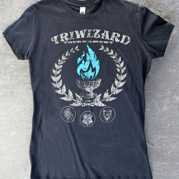 Harry Potter Shirt TriWizard Tournament Womens Fitted Stretchy Ringspun Cotton Tee. The Goblet of Fire! Wear To PotterWorlds, Comicon, etc!