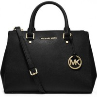 MICHAEL KOR WOMEN'S HANDBAG PURSE SHOULDER BAG Black
