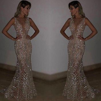 Sexy Mesh Sequined Party Vestidos Dress Women Plus Size 2XL Backless V Neck Bodycon Dress Christmas Long Maxi Dresses