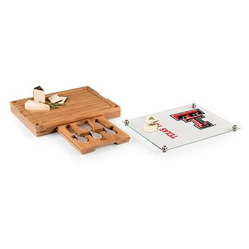 Texas Tech Red Raiders - Concerto Glass Top Cheese Cutting Board & Tools Set, (Bamboo)