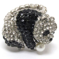 Adorable Panda Bear Crystal Bling Stretch Ring