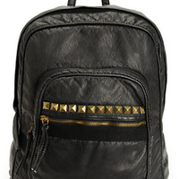 T-Shirt & Jeans Studded Black Faux Leather Backpack