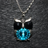 Silver Owl with Blue and Black Rhinestones Pendant Necklace