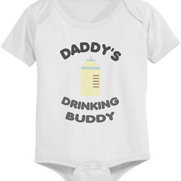 Daddy's Drinking Buddy Cute Baby Bodysuit - Pre-Shrunk Cotton Snap-On Style