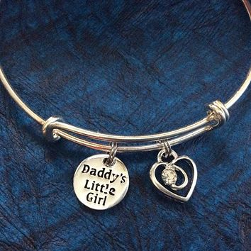 Children's Daddy's Little Girl on a Silver Expandable Adjustable Wire Bangle Charm Bracelet Kid's Jewelry