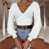 Autumn Women's Fashion Hot Sale V-neck Long Sleeve Slim Sweater [1352339849332]