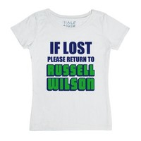 If Lost Please Return To Russell Wilson-Female White T-Shirt