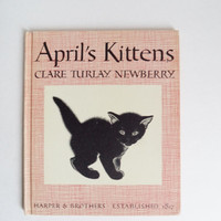 Vintage Book Childrens April's Kittens by Clare Turlay Newberry 1940 Hardcover Collectible Illustrated