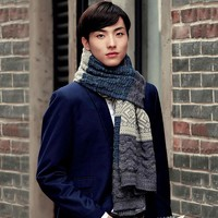 Winter Scarf Men High Quality Men's Scarf Knitted Patchwork Thickening Warm Long Scarves Shawl Wrap Casual Outdoor Knit Scarf