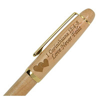 Kate Posh - 1 Corinthians 13 Love Never Fails Wooden Pen with Golden Accents